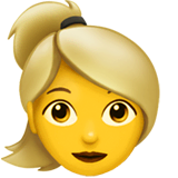 Blond-Haired Woman Emoji on Apple macOS and iOS iPhones