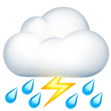 Cloud With Lightning and Rain Emoji on Apple macOS and iOS iPhones