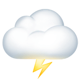 Cloud With Lightning Emoji on Apple macOS and iOS iPhones