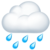 Cloud With Rain Emoji on Apple macOS and iOS iPhones