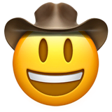 Cowboy Hat Face Emoji on Apple macOS and iOS iPhones