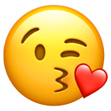 Face Blowing a Kiss Emoji on Apple macOS and iOS iPhones