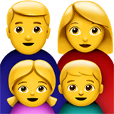 Family: Man, Woman, Girl, Boy Emoji on Apple macOS and iOS iPhones