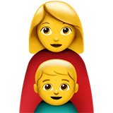 Family: Woman, Boy Emoji on Apple macOS and iOS iPhones