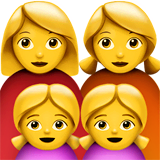 Family: Woman, Woman, Girl, Girl Emoji on Apple macOS and iOS iPhones