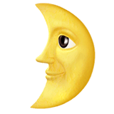 First Quarter Moon Face Emoji on Apple macOS and iOS iPhones
