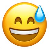 Grinning Face With Sweat Emoji on Apple macOS and iOS iPhones