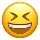 Grinning Squinting Face Emoji on Apple macOS and iOS iPhones