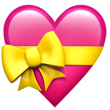 Heart With Ribbon Emoji on Apple macOS and iOS iPhones