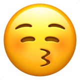 Kissing Face With Closed Eyes Emoji on Apple macOS and iOS iPhones