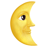 Last Quarter Moon Face Emoji on Apple macOS and iOS iPhones