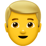 Man: Blond Hair Emoji on Apple macOS and iOS iPhones