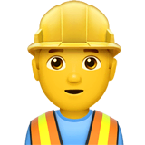 Man Construction Worker Emoji on Apple macOS and iOS iPhones