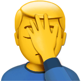 Man Facepalming Emoji on Apple macOS and iOS iPhones