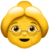 Old Woman Emoji on Apple macOS and iOS iPhones