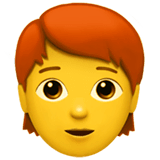 Person: Red Hair Emoji on Apple macOS and iOS iPhones