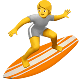 Person Surfing Emoji on Apple macOS and iOS iPhones