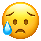 Sad But Relieved Face Emoji on Apple macOS and iOS iPhones