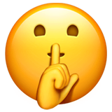 Shushing Face Emoji on Apple macOS and iOS iPhones