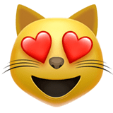 Smiling Cat With Heart-Eyes Emoji on Apple macOS and iOS iPhones