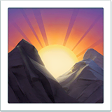 Sunrise Over Mountains Emoji on Apple macOS and iOS iPhones