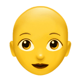 Woman, Bald Emoji on Apple macOS and iOS iPhones