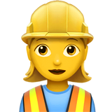 Woman Construction Worker Emoji on Apple macOS and iOS iPhones