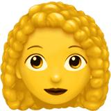 Woman, Curly Haired Emoji on Apple macOS and iOS iPhones