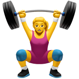 Woman Lifting Weights Emoji on Apple macOS and iOS iPhones