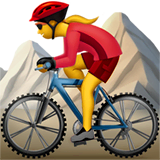 Woman Mountain Biking Emoji on Apple macOS and iOS iPhones