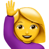 Woman Raising Hand Emoji on Apple macOS and iOS iPhones