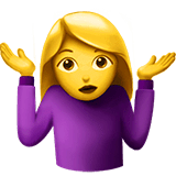 Woman Shrugging Emoji on Apple macOS and iOS iPhones