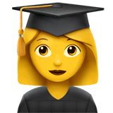 Woman Student Emoji on Apple macOS and iOS iPhones