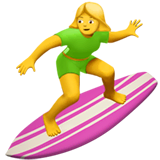 Woman Surfing Emoji on Apple macOS and iOS iPhones