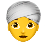 Woman Wearing Turban Emoji on Apple macOS and iOS iPhones
