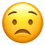 Worried Face Emoji on Apple macOS and iOS iPhones