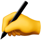 Writing Hand Emoji on Apple macOS and iOS iPhones