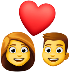 Couple With Heart: Woman, Man Emoji on Facebook