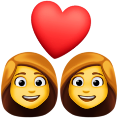 Couple With Heart: Woman, Woman Emoji on Facebook