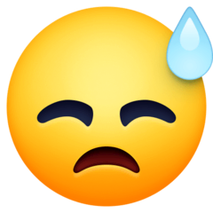Downcast Face With Sweat Emoji on Facebook