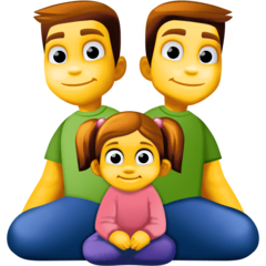 Family: Man, Man, Girl Emoji on Facebook