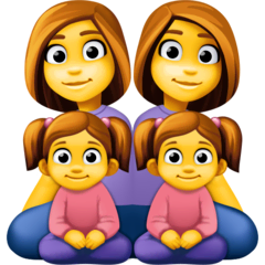 Family: Woman, Woman, Girl, Girl Emoji on Facebook