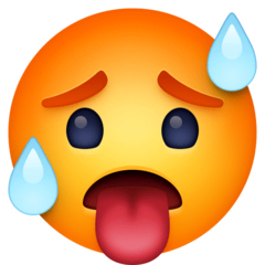 Hot Face Emoji on Facebook