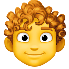 Man, Curly Haired Emoji on Facebook