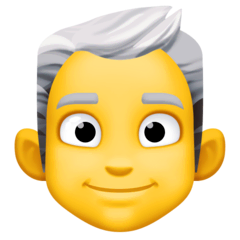 Man, White Haired Emoji on Facebook