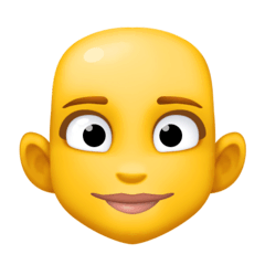 Woman, Bald Emoji on Facebook