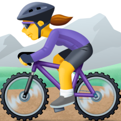 Woman Mountain Biking Emoji on Facebook