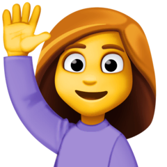 Woman Raising Hand Emoji on Facebook