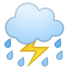 Cloud With Lightning and Rain Emoji on Google Android and Chromebooks