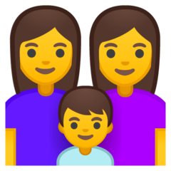Family: Woman, Woman, Boy Emoji on Google Android and Chromebooks